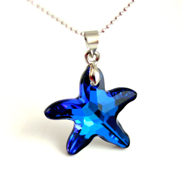 Ocean Moonlight Blue Starfish Silver Pendant Necklace made wit Swarovski Element