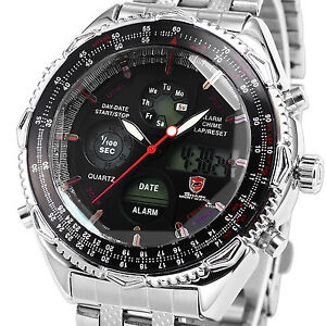 Eightgill Shark Mens LCD Digital Stainless Steel Date Day Quartz Sport Men Watch