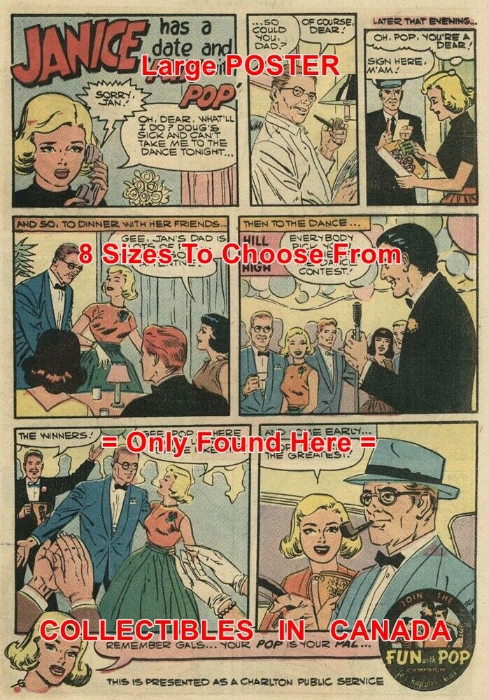 FUN WITH POP 1958 Daughter & Father = POSTER Not Comic Book 8 GrößeS 18  - 3 FEET