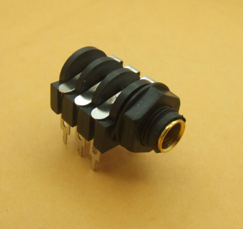 """10PCS Gold mouth 1//4/"""" 6.35mm Stereo Audio Socket for DJ Headphones PA Amplifier"""