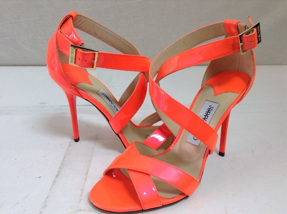 JIMMY CHOO Neon Flame Orange Strappy Patent Leather 'Lottie' Sandals 39.5 US 9.5
