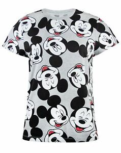 Disney-Mickey-Mouse-Face-All-Over-Print-Women-039-s-Short-Sleeve-T-Shirt