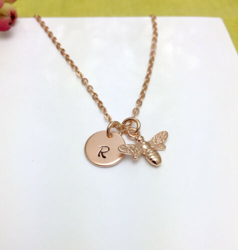 Personalised Sterling Silver Rose Gold Plated Bee Charm Initial Necklace Box
