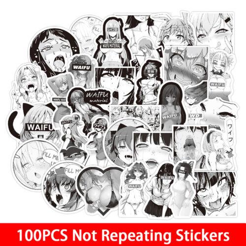 100pc Anime Black-white WAIFU Stickers Snowboard Laptop Luggage Guitar Suitc LS