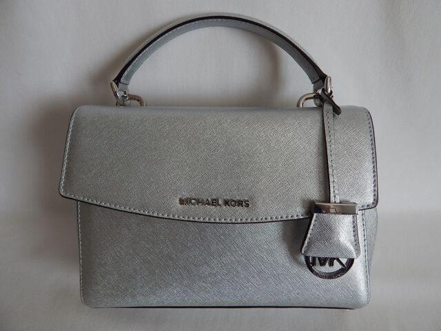 8378332147e4 Michael Kors Ava Small Leather Th Satchel Handbag Silver 30f5mavm2m ...