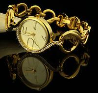 Luxus Damenuhr Armbanduhr 750er Gold 18k Vergoldet Watch Strass Geschenk U2207