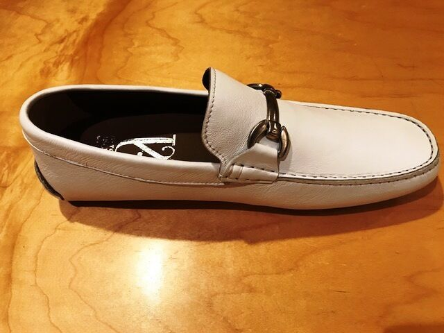 Bianca moccasins in driving shoe for Uomo in moccasins soft comfortable pelle-made in Italy ccb53d