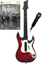 NEW Xbox 360 Guitar Hero 5 Wireless Guitar, Beatles Rock Band Game & Mic Bundle