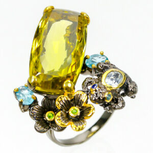 Discount-Sale-Natural-Lemon-Quartz-925-Sterling-Silver-Ring-Size-8-5-R83689