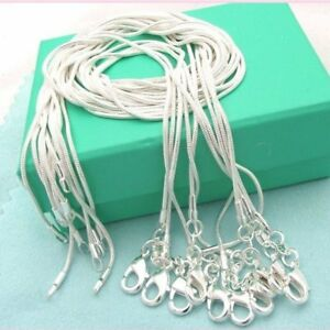 10PCS-Wholesale-925-Sterling-Solid-Silver-Snake-Chain-Necklace-For-Pendant-Gift