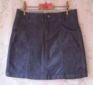 Rare-New-MANTARAY-Dark-Denim-Blue-Stretch-Cotton-Cord-Velvet-Mini-Skirt-12-M