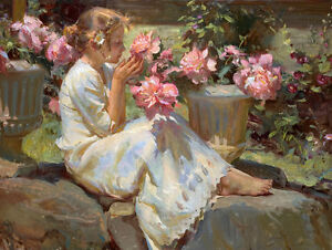 """Beautiful Oil painting Nice Young girl smell the flowers hand painted canvas 36"""""""