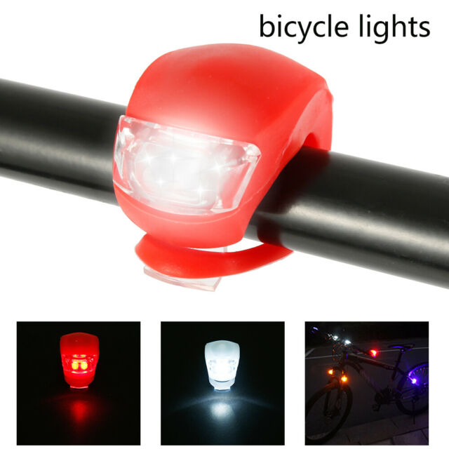 6 LED SILICONE MOUNTAIN BIKE BICYCLE FRONT REAR LIGHTS SET PUSH CYCLE LIGHT CLIP