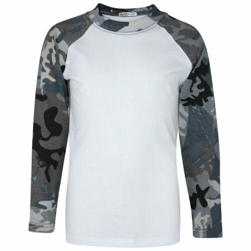 Kids Boys Camo Charcoal T Shirts Plain American Baseball Long Raglan Sleeves Top