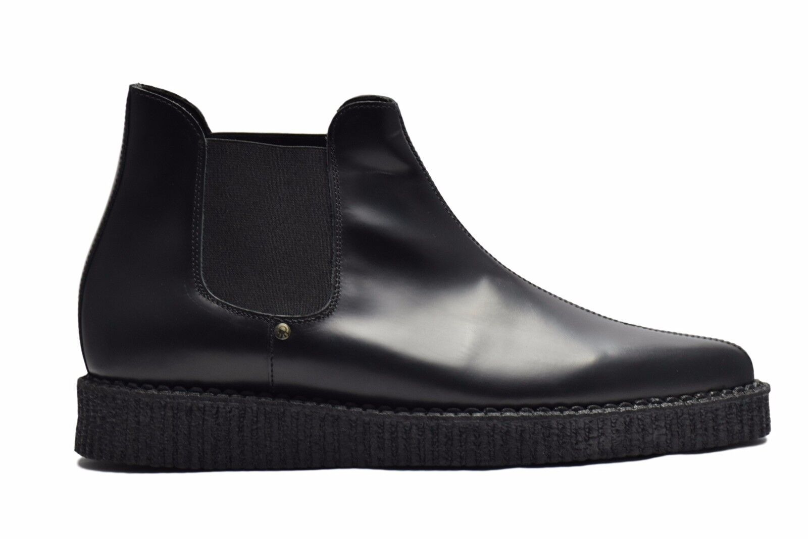 Steel Ground schwarz Leder Ankle Stiefel Chelsea Boot Pointed Creepers Sc210Z178