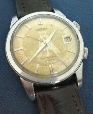 Rare 1st Gen Vintage ANGELUS Datalarm Tropical ALPHA Dial 21j ALARM Steel Watch