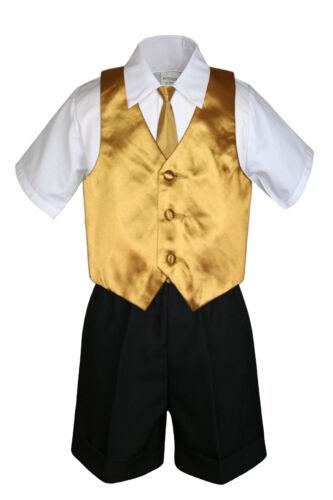 4pc Baby Boys Toddler Formal Gold Vest Necktie Black Navy Shorts Set Sm-4T