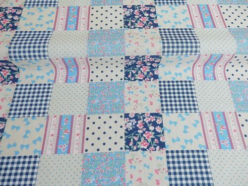 PATCHWORK PolyCotton FABRIC Navy Blue Floral FLOWER CHECK Reduced Prices NEW