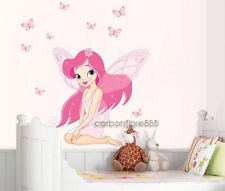 PINK FAIRY PRINCESS Butterflies Wall Stickers Nursery vinyl Art Girls Room Decal