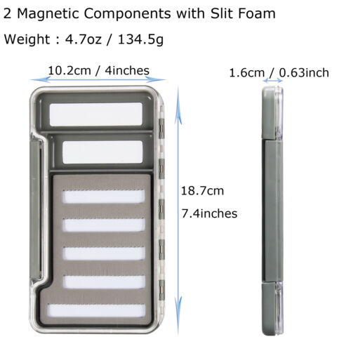 Super Slim Fly Fishing Box Slit Easy Grip Foam Magnetic Components Fly Box