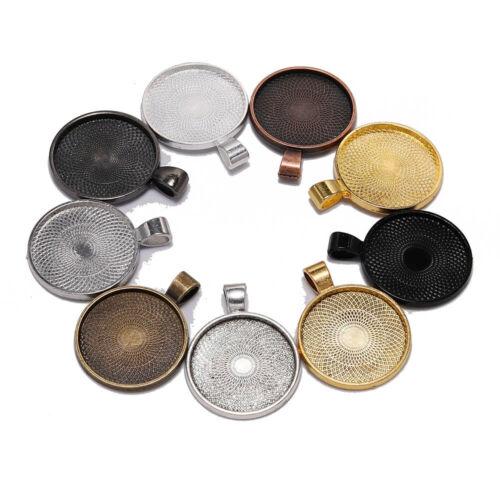 10pcs 25 mm Cabochon Base Tray Bezels Blank Necklace Pendant for Jewelry Making