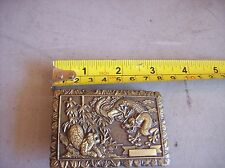 VINTAGE JAPANESE OR CHINESE BRONZE OR BRASS Belt Buckle Dragon FIGHTING TIGER