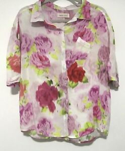 Peter-Alexander-Floral-Button-Front-Short-Sleeve-Womens-PJ-Top-Size-Small