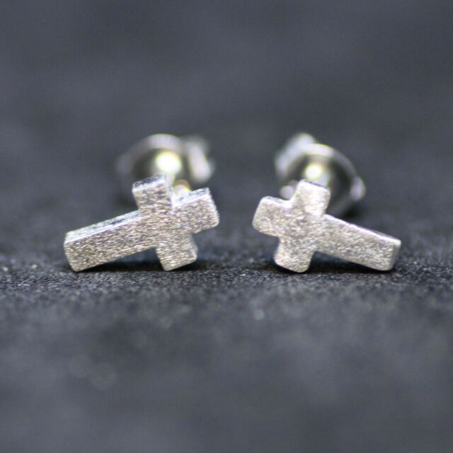 Tiny Cross Earrings Sterling Silver 925 Crucifix Little Girl Earrings Christian