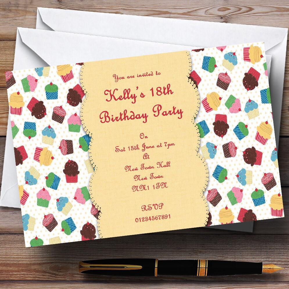 Cute cupcakes vintage tea tea tea party invitations personnalisées a7ef4a