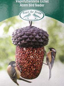 Vogel-Futterstelle-in-Eichelform-zum-aufhaengen-Meisen-Rotkelchen-Gartendeko