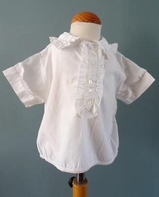 Vintage Camicia Shirt 1950s Childs Volant Colletto Cotone Crema-mostra Il Titolo Originale