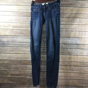 Hollister-Jeans-Womens-00R-W-23-L-31-Medium-Wash-Skinny-Blue-Denim