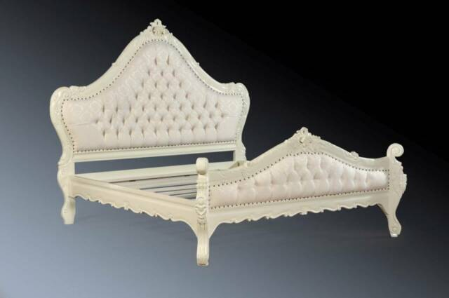 Large Huge Mahogany Ornate French Shabby Chic Boudoir White Super King Size Bed