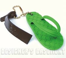 GUCCI lime green Rubber Guccissima SANDAL charm Bead Chain KEY Ring NIB Authentc