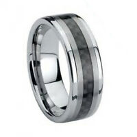 Mens Tungsten 8mm - Black Carbon Fiber Inlay Tungsten Carbide Wedding Ring Band