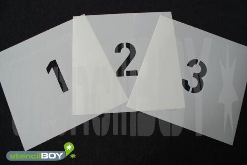 Zahlenschablonen mit Sprühnebelschutz aus 0,5mm PET Font HS vom stencilBOY
