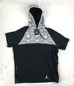 Nike-Air-Jordan-BHM-Short-Sleeve-Pullover-Hoodie-Black-White-642458-010-Mens-XL