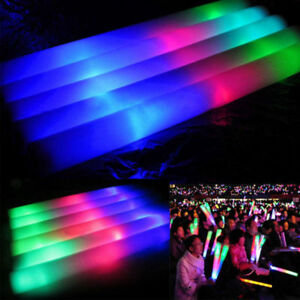 30PACK-Light-Up-LED-Foam-Glow-Sticks-Roller-Tube-Baton-Wands-Party-Rally-Rave