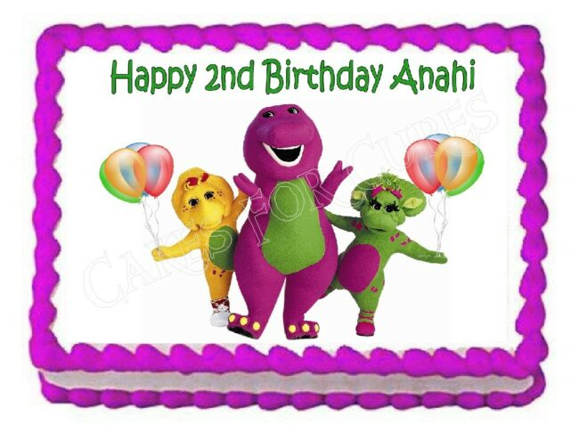 Brilliant Barney Edible Birthday Cake Image Cake Topper Decoration Frosting Personalised Birthday Cards Cominlily Jamesorg