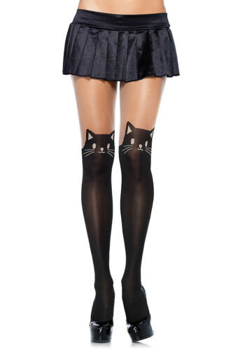 Black Cat Tights Spandex Opaque Pantyhose Kitty Tights 7908