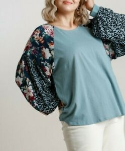 New-Umgee-Top-1X-Dusty-Mint-Animal-Floral-Puff-Sleeve-Boho-Peasant-Plus-Size
