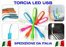 TORCIA LED USB LIGHT SNODABILE PIEGHEVOLE PC LETTURA POWER BANK XIAOMI SAMSUNG