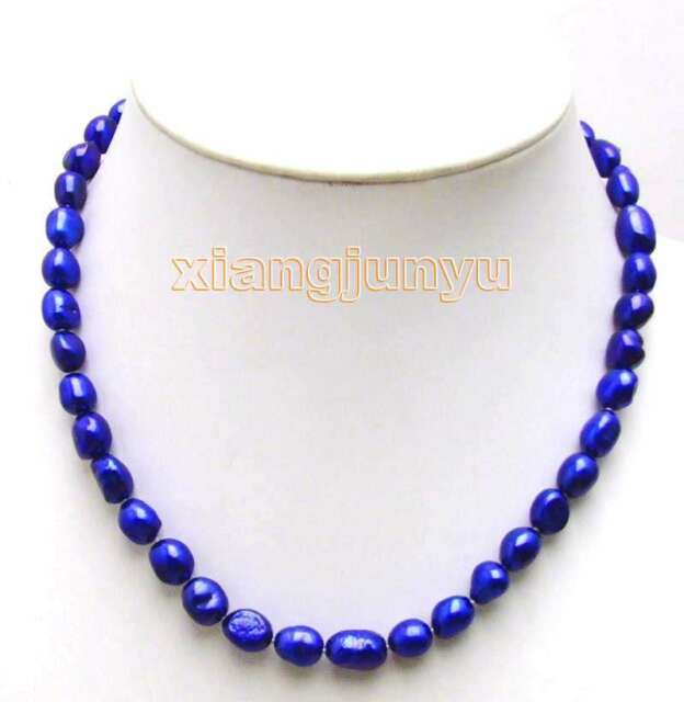 """SALE Big 7-9mm Blue BAROQUE natural Freshwater PEARL 17"""" Necklace -nec5781"""