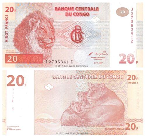 Congo 20 Francs 1997 Replacement P-88A Printer HdM Banknotes UNC