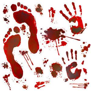 Details Zu Halloween Sticker Aufkleber Realistisch Große Blutige Handabdrücke Fußabdrücke