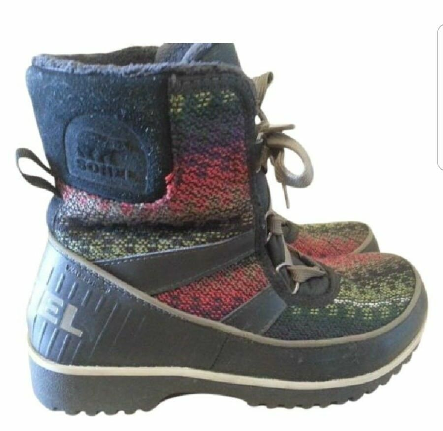 SOREL Donna SIZE 7 M  MULTI COLOR LEATHER USED 1X WINTER SNOW