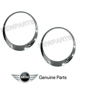 For-Mini-Cooper-S-JCW-Clubman-Roadster-Coup-Headlight-Trim-Ring-Chrome-Set-L-R