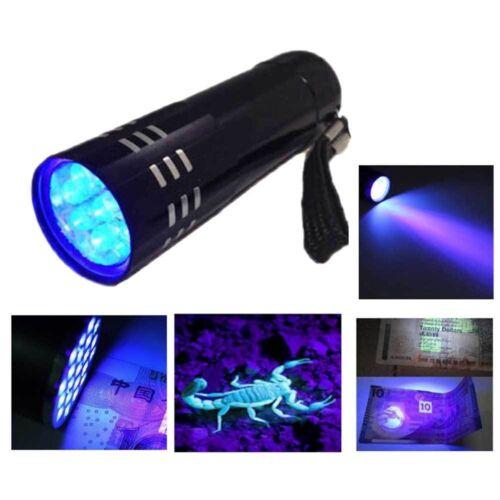 Black Mini Aluminum UV ULTRA VIOLET 9 LED FLASHLIGHT Torch Light Lamp D GI ɔ
