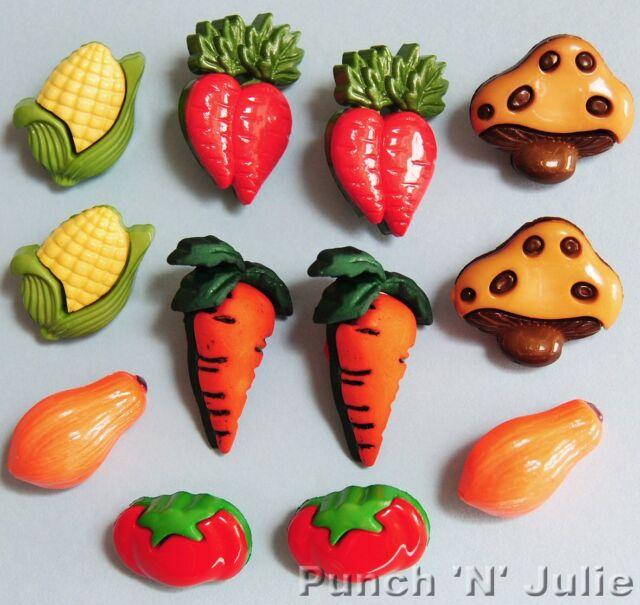 VEGGIE LOVER  Carrot Tomato Mushroom Sweetcorn Farm Garden Novelty Craft Buttons