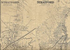 Stratford Lordship Housatonic CT 1867 Map with Homeowners Names